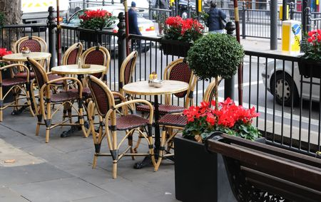 Sidewalk cafe on the street of London Stock Photo