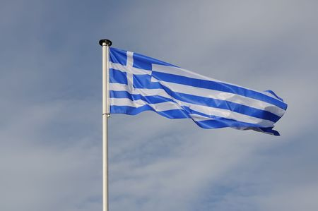 Evolving national flag of the Greece Stock Photo