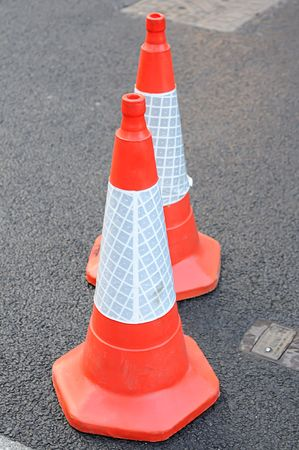 Safety Cones on the asphalt