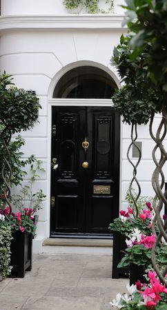 Entrance to white edwardian house in London