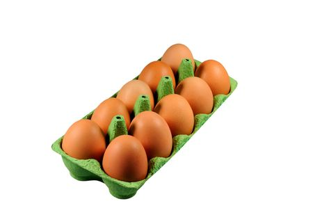 Brown eggs in carton green container isolated on white Stock Photo
