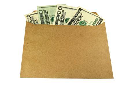 Envelope containing U.S. dollars inside isolated on white.