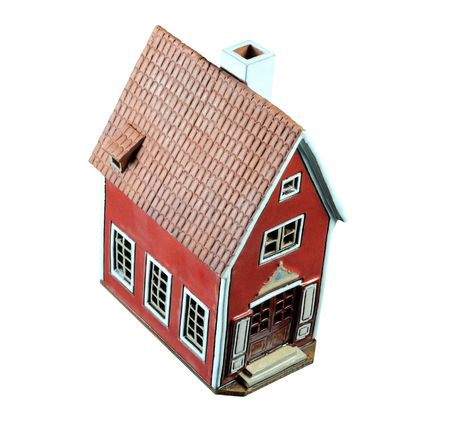 A model house on a white background.  Stock Photo