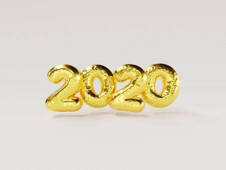 2020 new year metallic gold balloon front of white
