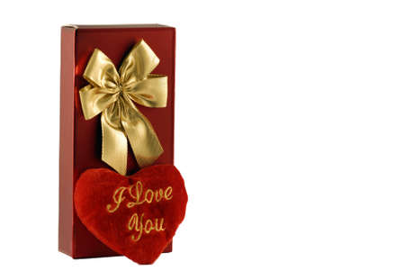 red candy box with gold bow and red heart with lettering Stock Photo - 5637873