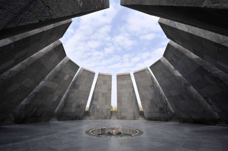 genocide: Eternal flame in Tsitsernakaberd. Tsitsernakaberd is a memorial dedicated to the victims of the Armenian Genocide in 1915. Yerevan, Armenia. The eternal flame inside the memorial.