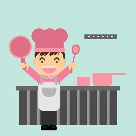 restaurateur: Chef dans la cuisine  Illustration