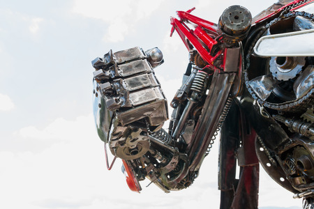 prosthetic equipment: Hand of Metallic cyber or robot made from Mechanical ratchets.