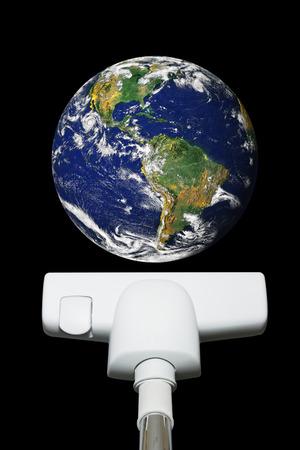 vacuuming: Vacuuming earth.  Stock Photo