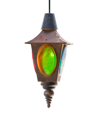 multi colors: vintage lamps made of metal and transparent plastic multi colors. Isolated on white background. File contains a clipping path.