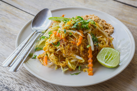Pad Thai (glass noodle), Thailand food with made vermicelli, Cellophane noodles stir-fried Thailand style,