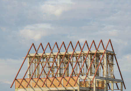 Structural steel roof using steel frames of building residential construction Stock Photo