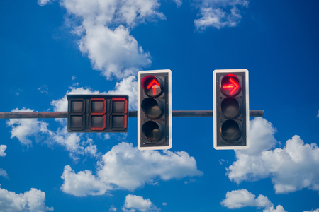 traffic light with on blue sky background