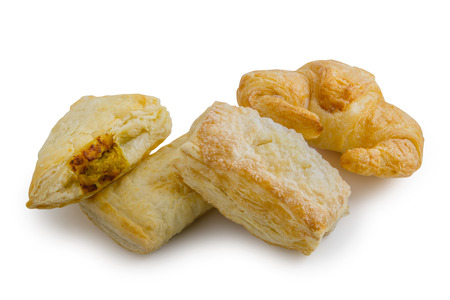 Puff pastry isolated on white background.