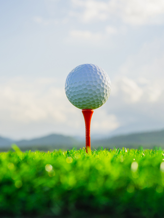 close up the golf ball on tee pegs ready to play in the nature background