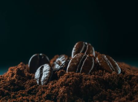 macro coffee bean on pile of coffee grind in dark background with copy space, close up Stock fotó