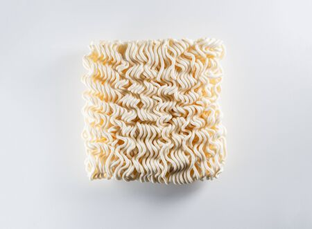 Top View of instant noodles on white background which main ingredient from wheat, close up view Stock fotó