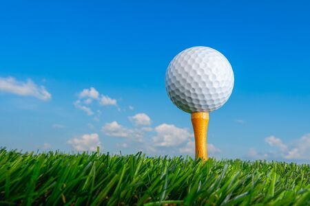 golf ball on tee pegs ready to play in the green grass and blue sky, sport outdoor