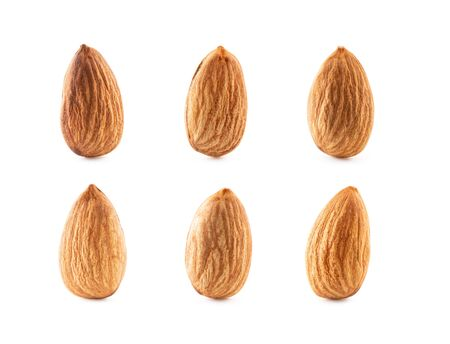 Collection macro almonds isolated on white background with clipping path