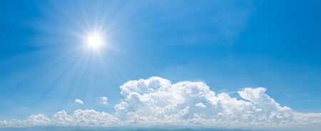panorama of blue sky and cloud with sunbeam for use background banner