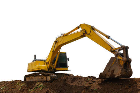 Backhoe working on pile soil isolated on white background with clipping path