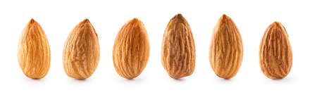 Collection macro almonds isolated on white background with clipping path Reklamní fotografie