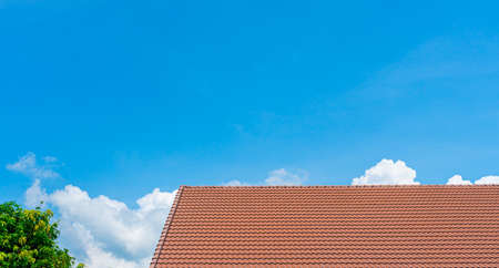 Red roof tiles and treetops on blue sky with copy space