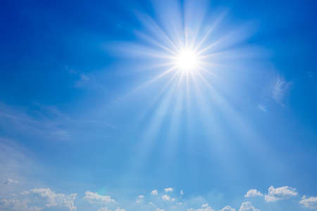 beautiful nature of blue sky with clouds and sun shines bright in the day