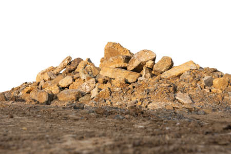 stone pile and ground isolated on white background