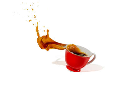 hot coffee red cup spilling and coffee water splash isolated on white background  shadow and 写真素材