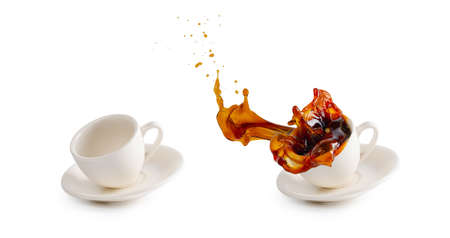empty white coffee cup and hot coffee cup spilling on floor  water splash isolated on white background