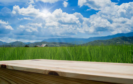 wooden table on agricultural rice field beside mountain with blue sky for use show product with copy space Archivio Fotografico - 156224597
