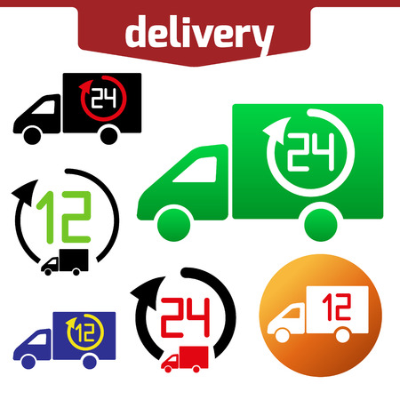 tree service business: Icons set of Fast delivery. The business. icar and arrow solated on white background. Illustration