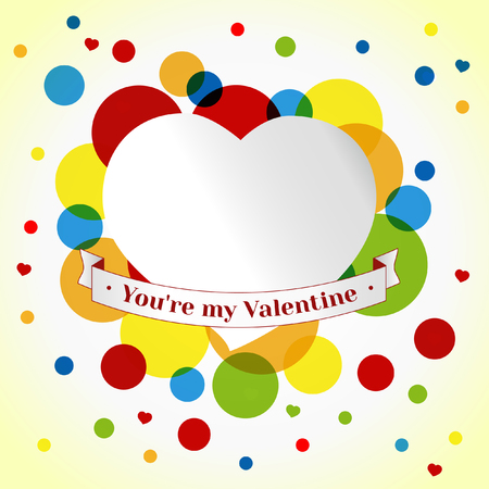 valentin day: Card Valentin day. Colorful Circles Background. template