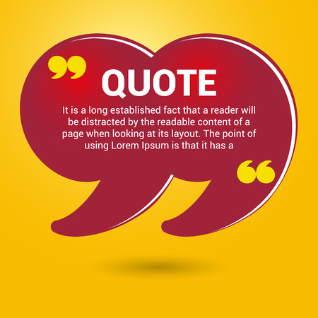 quotation marks: yellow quotation marks. Boxes with text isolated on white background. Quote bubble.
