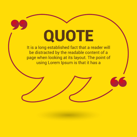 quotation: yellow quotation marks. Quotation Bubble. Web banner template.