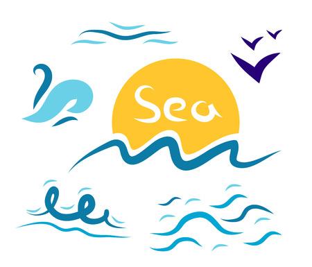 gulls: Set the wave sea gulls sun on a white character