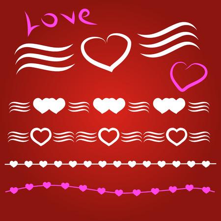 heart symbol: illustratio Border vector heart. Symbol valentines day. Illustration