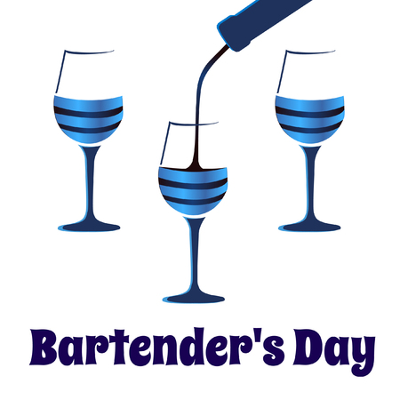 glases: Card bartenders Day. Vector three glases for wine