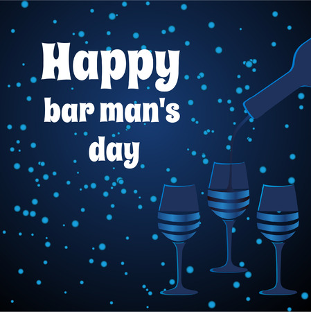 bartenders: Card bartenders Day. Vector  three glasses on blue background