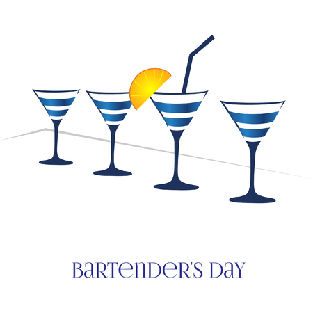 bartenders: Card bartenders Day. Vector four glasses on a white background Illustration