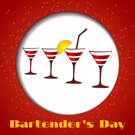 bartenders: Card bartenders Day. Vector four glasses on a red background