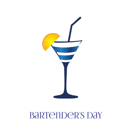 bartenders: Card bartenders Day Vector illustration glass icon.