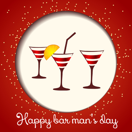bartenders: Card bartenders Day. Vector  three glasses on a red background