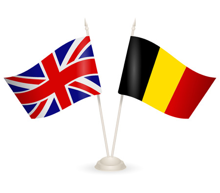 between: Table stand with flags of England and Belgium. Symbolizing the cooperation between the two countries. Illustration