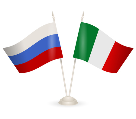 between: Table stand with flags of Russia and Italy. Symbolizing the cooperation between the two countries. Illustration