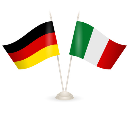 between: Table stand with flags of Germany and Italy. Symbolizing the cooperation between the two countries. Illustration