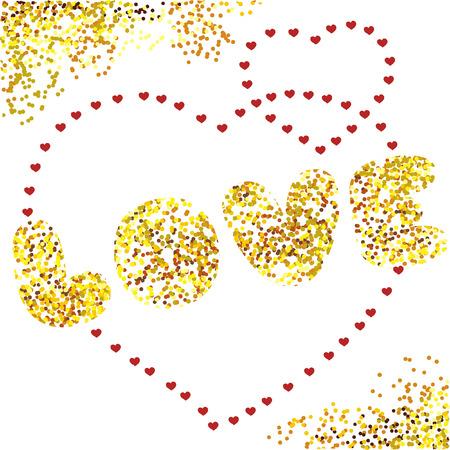 golden heart: Design vector card Love. golden heart background