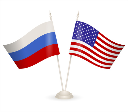 between: Table stand with flags of Russia and USA. Symbolizing the cooperation between the two countries.