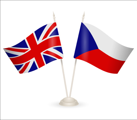 between: Table stand with flags of Chech and England. Symbolizing the cooperation between the two countries.